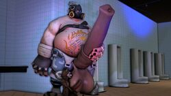 3d animal_genitalia animated ball_lick balls duo guardians_of_the_galaxy hyper_penis licking loop male male_focus male_only no_sound overwatch penis roadhog rocket_raccoon tagme webm yaoi