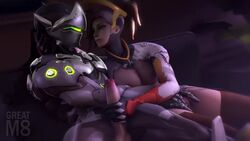 3d animated areolae balls bedroom_eyes biting_lip blonde_hair breasts clothed clothes clothing couch cyborg duo exposed_breasts exposed_pussy female fingering genji gloves greatm8 handjob headgear light_skin looking_at_partner loop male mask mercy moaning mutual_masturbation nipples overwatch penis ponytail pussy robot_joints romantic sofa sound source_filmmaker straight watermark webm wet wet_pussy white_skin