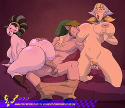 1boy 2girls anus areolae ass balls beauty_mark big_ass blonde_hair blush breast_sucking breasts closed_eyes clothed clothing female finger_fuck fingering footwear group group_sex half-closed_eyes hand_on_breast hat headscarf huge_ass huge_breasts humanoid hylian kina_(skyward_sword) kneeling large_breasts link looking_back looking_pleasured male male_penetrating milf mole_(marking) mostly_nude multiple_girls nintendo nipple_suck nipples npc open_mouth peatrice penis pointy_ears pubic_hair pussy sex shoes sideboob sitting skyward_sword slb spread_legs straight sweat the_legend_of_zelda thick_thighs threesome tongue vaginal_penetration veiny_penis wide_hips