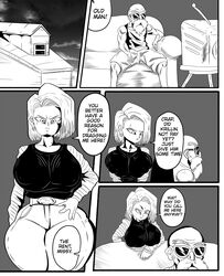 ! 1boy 1girl ? absurdres age_difference android_18 angry bald beard belt breasts clothed collarbone comic couch curvy dialogue doompypomp dragon_ball dragon_ball_z duo english_text eyewear facial_hair female frown hand_on_hip highres house huge_breasts human jeans male master_roshi monochrome nipple_bulge old_man older_male shorts speech_bubble sunglasses tank_top televsion text thick_thighs watching_tv wide_hips yelling younger_female