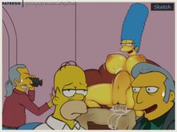 cum_in_pussy cum_inside cydlock female filming homer_simpson male marge_simpson pussy stomach_bulge tagme the_simpsons vaginal_penetration