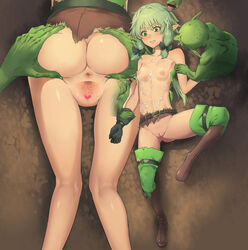 1girl 2018 2boys 5_fingers 5_toes abs after_sex anus areola armwear ass belt blush boots breasts buckle cave censor_bar censored clothed clothing cum cum_in_hair cum_on_chest cum_on_stomach digital_media_(artwork) elf erection eyelashes female fingers flat_chest footwear gloves goblin goblin_slayer green_eyes green_hair green_skin group hair hair_ribbon hand_on_butt heart heart_censor high_elf_archer humanoid imminent_rape ineffective_censorship interspecies knee_high_boots legwear lying male mammal masturbation multiple_angles mutumuka nipples not_furry on_back on_front open_mouth partially_clothed penis pointy_ears pussy ribbons ribs shirt shorts shortstack simple_background size_difference small_breasts smaller_male spread_anus spread_ass spread_pussy spreading standing tears teeth thigh_highs toes tongue tongue_out torn_clothes torn_clothing torn_shirt torn_shorts wet wide_hips