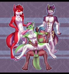 anal anal_sex animal_genitalia animal_penis canine canine canine_penis foursome fox grostenmeiers group group_sex husky jackal jz-jake knotting male male/male mammal oral orgy paws penetration penis raizel sex wolf