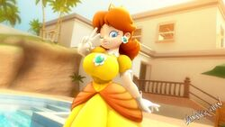 1girl 3d bangs blue_eyes breasts brown_hair clothed detailed_background dress earrings eyelashes female female_only flipped_hair flower_earrings front_view gesture gloves highres house huge_breasts human looking_at_viewer nintendo outdoors palm_tree pool poolside princess_daisy puffy_sleeves signature smile solo standing super_mario_bros. tree v wink wonster-chan yellow_dress