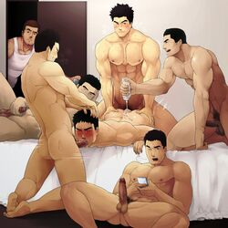 7boys abs artist_request ass_grab black_hair blush brown_hair erection fellatio gay group_sex hand_on_head lube male_only masturbation muscles nipples nude oral penis penis_grab spitroast sweat testicles yaoi
