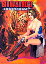 biohazard boots breasts brown_hair capcom feet female hands horror human jill_valentine looking_at_viewer monster nipples partially_clothed pistol poster resident_evil revolver shoes tagme wellingtons