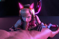 3d absurd_res black_cat_d.va blender blizzard_entertainment blonde_hair bodysuit breasts cat_ears cat_tail catsuit d.va deepthroat fellatio gloves heels highres male nocure21o oral oral_sex overwatch pov pov_eye_contact skin_tight stockings straight thighhighs