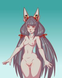 animal_ears animal_humanoid areolae bangs blush breasts cat_ears cat_humanoid collarbone cowboy_shot female female_only gradient_background grey_hair hairless_pussy highres hourglass_figure long_hair long_twintails medium_breasts navel nia nintendo nipples nude pussy silty smile solo thigh_gap tied_hair twintails very_long_hair xenoblade_chronicles xenoblade_chronicles_2 yellow_eyes