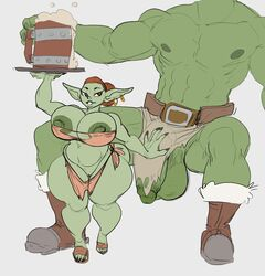 1boy beer big_belly big_breasts big_nipples big_penis big_testicles brown_eyes female goblin goblin_female green_skin huge_balls huge_breasts huge_cock large_breasts large_penis loincloth loincloth_aside muscular nipples orc original_character pussy tagme testicles thick_penis thick_thighs vongrauenhausen waitress
