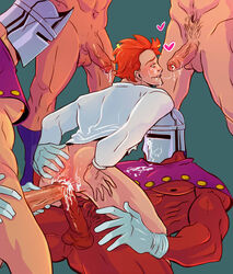 5boys anal anus armor ass bara blush cum cum_in_ass cumdrip double_anal double_penetration gaping group_sex helmet male_focus multiple_boys muscle naughty_face orange_hair orgy penetration sex size_difference spreading straddling yaoi