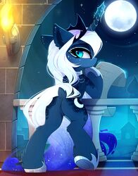 2019 alicorn blue_eyes blue_fur corruptedluna detailed_background digital_media_(artwork) equine eyelashes feathered_wings feathers female feral friendship_is_magic fur hair hooves horn magnaluna mammal moon my_little_pony night outside princess_luna_(mlp) pussy sky solo star starry_sky white_hair wings