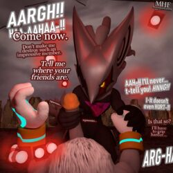 2019 3d_(artwork) anthro big_penis captured chest_tuft dialogue digital_media_(artwork) duo glans handjob holding_hands implied_torture infinite_(sonic) interrogation long_penis male male/male maledom malesub moorsheadfalling penis penis_grab sex silver_the_hedgehog sonic_(series) sonic_forces squeezing submissive_pov text torture video_games