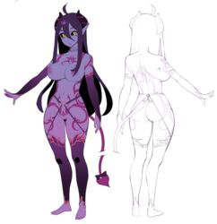 :> ahoge barefoot black_sclera blush character_sheet collarbone demon_girl demon_horns demon_tail elbow_gloves female gloves hair_between_eyes halphelt horns long_hair looking_at_viewer musical_note navel nipples original pointy_ears purple_nipples purple_skin pussy sketch smile solo stomach tail tattoo thigh_tattoo thighhighs yellow_eyes