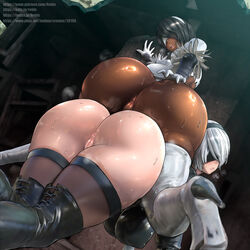 2girls android anus ass black_hair blindfold boots breasts dark-skinned_female dark_skin embarrassed feathers female female_only hand_on_ass hanging_breasts high_heel_boots huge_breasts large_breasts licking licking_lips looking_back mole mole_under_mouth nier nier:_automata on_all_fours open_mouth pussy rebis_(artist) shiny shiny_hair shiny_skin sitting sitting_on_person smiling steam steamy_breath sweat sweaty tongue toungue_out vagina watermark wet white_hair yorha_2b yorha_2p yuri