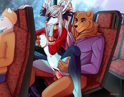 2019 5_fingers anthro anthro_on_anthro antlers balls big_breasts black_nose blue_eyes blue_fur bottomless breast_grab breasts brown_eyes brown_fur bus cervine clothed clothing detailed_background digital_media_(artwork) domination duo_focus erection exhibitionism eyelashes female fur grin grope group hair hand_on_breast hand_on_thigh hoodie horn humanoid_penis inner_ear_fluff long_hair male male/female male_domination male_penetrating mammal markings nervous nipples nzuri on_top ophelie_ines partially_clothed penetration penis pink_nose ponytail public public_transportation pussy pussy_juice reverse_cowgirl_position risky sex sitting smile spook_the_bear spread_legs spreading stealth_sex sweater sweater_lift ursine vaginal_penetration vaginal_penetration vein white_fur