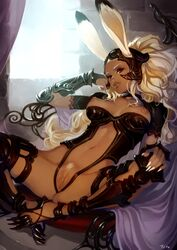 absurdres animal_ears armor breasts brown_eyes bunny_ears center_opening dark_nipples dark_skin ears_through_headwear female final_fantasy final_fantasy_xii final_fantasy_xiv fingernails fran high_heels highres indoors lips long_fingernails long_hair looking_at_viewer lying medium_breasts navel nipples on_back parted_lips pubic_hair pussy revealing_clothes signature solo spread_legs thighhighs typo_(requiemdusk) uncensored vambraces viera white_hair
