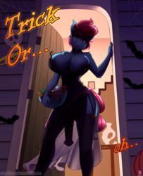 1futa 2018 absurd_res animal_genitalia animal_penis anthro anthrofied big_breasts bowl breasts building candy chest_tuft clothed clothing collar condom darkhazard dickgirl digital_media_(artwork) door dress earth_pony equine equine_penis fangs flaccid food friendship_is_magic garter_straps hair halloween hi_res holding_object holidays horse house intersex legwear looking_at_viewer looking_down mammal mrs_cake_(mlp) my_little_pony penis pink_eyes pink_hair pony short_hair signature solo thigh_highs tuft url
