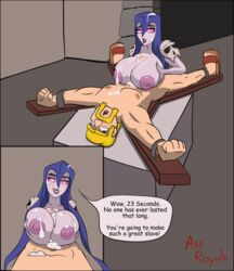 animated barbarian big_breasts bondage bound_ankles bound_wrists catacomb clash_of_clans clash_royale cloak contraption cowl cum cum_between_breasts cum_on_face cumdrip ejaculation_between_breasts femdom immobile male male_pov moustache paizuri pink_sclera purple_nipples purple_sclera purple_skin qolim restrained shoulder_pads skull speech_bubble tagme toony torture torture_chamber witch