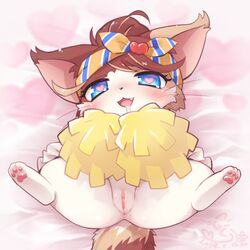 blue_eyes cat_busters cheerleader feline female furry mizuki_kotora open_mouth pussy solo uncensored