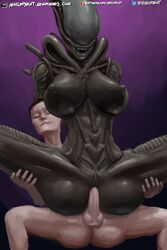 2019 3d_(artwork) abs alien alien_(franchise) ass balls belly big_breasts big_butt black_skin breasts closed_eyes dangerous digital_media_(artwork) duo enjoying erection eyeless female grabbing human humanoid interracial interspecies larger_female laugh male male/female male_penetrating mammal muscular navel nihilophant nipples not_furry penetration penis pussy riding sex sharp_teeth sitting size_difference smile spread_butt spread_legs spreading teeth tubes vaginal_penetration white_skin wide_hips xenomorph