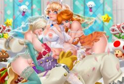 2boys 3futa 3girls areolae ass biting blonde_hair blue_eyes blue_gloves blue_legwear boo bowser breast_sucking breasts bridal_veil bride brown_hair church closed_mouth collarbone corset cowgirl_position cum cum_inside earrings ejaculation elbow_gloves exlic facesitting futa_on_male futanari gloves goomba hair_over_one_eye indoors interspecies jewelry koopa lactation large_breasts long_hair looking_up luma male_on_futa milk multiple_boys multiple_girls navel nintendo nippleless_clothes nipples no_panties oral penis piranha_plant princess_daisy princess_peach princess_rosalina sex starman_(mario) strapless super_mario_bros. super_mario_galaxy super_mario_land thighhighs tiara toad_(mario) veil wedding_dress white_gloves