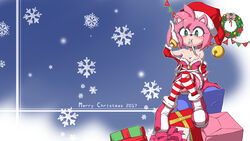 amy_rose breasts christmas clothed sonic_(series) thighhighs zoncrown