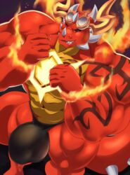 anthro big_bulge bulge clothed clothing dragon eyewear fire glasses horn huge_muscles kunn_(artist) looking_at_viewer male muscular muscular_male smile solo topless underwear