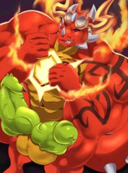 anthro balls big_penis dragon erection eyewear fire glasses horn huge_muscles knot kunn_(artist) looking_at_viewer male multi_penis muscular muscular_male nude penis precum smile solo thick_penis