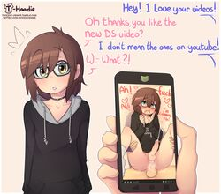 anal anal_sex androgynous balls blush clothing confusion cum cum_in_ass cum_inside dialogue duo english_text eyewear femboy girly glasses hands-free heart hoodie hoodie_(artist) human human_only legwear male male/male male_penetrated male_penetrating mammal not_furry orgasm penetration penis phone sex socks text trap