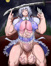 :p arms_up bad_id bangs biceps blush braid breasts censored dress erection extreme_muscles eyebrows_visible_through_hair female female forest frilled_dress frills full-package_futanari full_moon futanari gigantic_penis hair_ornament huge_breasts huge_testicles izayoi_sakuya katana long_hair looking_at_viewer maid maid_headdress moon mosaic_censoring muscle muscular_female nature night night_sky no_bra no_panties no_underwear outdoors penis penis_ribbon pointless_censoring puffy_areolae ribbon short_sleeves side_braid silver_eyes silver_hair sky smile solo spread_legs standing star_(sky) sword tall testicles thick_thighs thighs tongue tongue_out touhou uncensor_request upskirt veins veiny_penis veiny_testicles wall weapon wrong_(artist)
