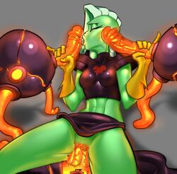 3boys abs alien alien_girl asymmetrical_hair breasts cheek_poke closed_eyes disney dominator-bot double_handjob elbow_gloves female foursome gloves green_skin grey_background handjob heart highres huge_cock humanoid larger_female lava long_hair lord_dominator machine male medium_breasts midriff missionary penis_lick penis_on_face pinky_out saliva sex shoulder_pads size_difference skirt skirt_lift smaller_male straight svmson technophilia toned tongue tongue_out vaginal_penetration veiny_penis wander_over_yonder white_hair