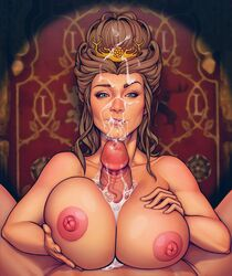areolae boobsgames breasts cum cum_on_breasts cum_on_face erection facial female game_of_thrones huge_breasts looking_at_viewer male margaery_tyrell nipples paizuri penis pov straight