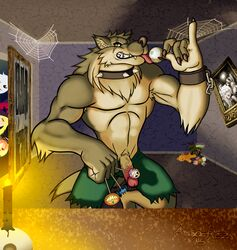 anthro candy canine clothed clothing collar food front_view ghostrick_warwolf humanoid_penis kingdomheartskeeper looking_at_viewer male mammal muscular muscular_male pants_down partially_clothed penis smile solo spiked_collar spikes standing tongue tongue_out topless wolf