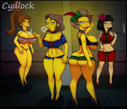 4girls character_request cleavage cookie_kwan cydlock edna_krabappel female female_only high_heels large_breasts looking_at_viewer looking_back microskirt smoke_ring tagme tattoo the_simpsons voluptuous wide_hips wink