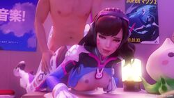 3d animated breasts d.va doggy_style female fritzhq male nipples no_sound overwatch sex webm