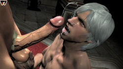 cum_on_face dante devil_may_cry facial gay male male_only open_mouth penis t7fakes white_hair