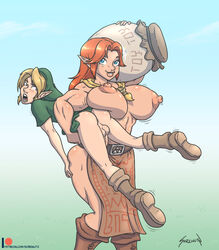 apron ascot bangs belt biceps blonde_hair blue_eyes boots carrying farm femdom grabbing_ass hylian large_breasts larger_female lifting_person link lon_lon_milk long_ears long_hair male malon milk muscles muscular_female ocarina_of_time penis puffy_nipples red_hair scarf smaller_male sorenutz testicles the_legend_of_zelda topless