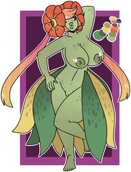 2017 anthro bellossom big_breasts breasts demonnyuu digital_media_(artwork) female flora_fauna flower hair long_hair nintendo nipples nude one_eye_closed plant pokémon_(species) pokemon pussy simple_background solo standing video_games