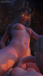 breasts curled_horns demon demon_horns dickgirl face_fucking facefuck fellatio futa_on_female futanari glowing_eyes hand_on_another's_head horns long_horns oral penis red_skin succubus taker_pov valentinov wings