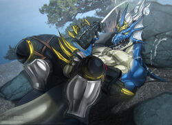 2018 5_fingers anthro armor balls black_penis blue_scales clothed clothing cum cum_covered cum_on_chest cum_on_face cum_on_self cumshot dragon ejaculation humanoid_penis konami lying male masturbation messy muscular muscular_male nekroz_of_catastor on_back open_mouth orgasm pants penile_masturbation penis scales solo todex tongue tongue_out topless yellow_eyes yu-gi-oh!