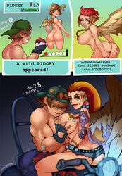 1boy 2girls ? abs anthro areolae ass big_breasts breast_grab breasts brown_hair cap comic english_text evolution female fingerless_gloves gameplay_mechanics gloves health_bar hud human humanized interspecies male markydaysaid nintendo nipples open_mouth original_character pidgeot pidgeotto pidgey pokeball pokemon pokemon_rgby shorts tattoo text tongue tongue_out video_games watermark wings