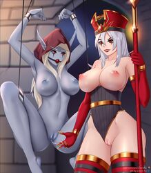 2girls areolae armpits arms_up ball_gag big_breasts blizzard_entertainment blue_skin bondage breasts elf female female_only heroes_of_the_storm nipples nude pointy_ears puppet pussy pussy_juice sally_whitemane silent-fly sylvanas_windrunner warcraft world_of_warcraft yuri