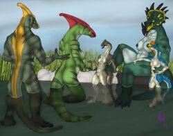 2017 3_fingers 4_fingers 4_toes abs anthro anthro_on_anthro ass balls barely_visible_genitalia barely_visible_pussy bathing beak belly biceps big_breasts biped black_beak black_claws blue_eyes blue_skin blue_stripes blue_tail bone_frill breast_size_difference breasts casual_nudity ceratopsian claws closed_eyes cloud countershade_arms countershade_face countershade_legs countershade_tail countershade_torso countershading crest digital_drawing_(artwork) digital_media_(artwork) dinosaur earhole embrace facial_markings female flaccid freckles frill grass green_nipples green_skin green_stripes green_tail grey_beak grey_skin grey_stripes grey_tail group hadrosaurid hand_holding hand_on_thigh head_frill horn humanoid_penis kneeling larger_female larger_male leaning leaning_back long_neck long_tail looking_at_another male male/female markings medium_breasts multicolored_skin musclegut muscular muscular_female muscular_male navel nipples non-mammal_breasts nude open_beak open_mouth orange_eyes orange_skin orange_tail ornithopod outside oviraptor oviraptorid parasaurolophus partially_submerged pecs penis public_nudity pussy quetzalcoatl_(artist) reclining red_skin reptile river riverbank rock romantic_couple scalie side_boob signature sitting size_difference sky slightly_chubby smaller_female smaller_male smile snout socks_(marking) spines standing striped_skin striped_tail stripes styracosaurus theropod toe_claws toes tongue triceps two_tone_skin two_tone_tail waist_grab water white_balls white_countershading white_nipples white_penis white_pussy white_skin yellow_beak yellow_markings