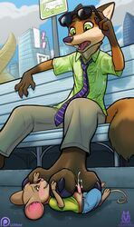 3_toes bench between_toes blush brown_eyes bus_stop canine claws clothing cum disney eyewear foot_fetish foot_focus footjob fox green_eyes lichfang male male/male mammal mouse nick_wilde open_mouth paws penis public rodent sex size_difference sunglasses surprise toes zootopia