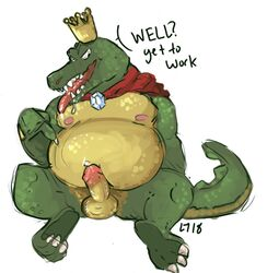alligator anthro cape clothing conditional_dnp crocodilian crown donkey_kong_(series) feet k_rool lustylamb male nintendo nipples overweight overweight_male precum reptile scales scalie solo video_games