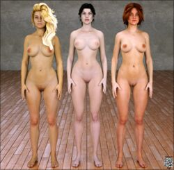 3d 3girls artist_name bare_shoulders barefoot big_breasts black_eyes black_hair blonde_hair blue_eyes brown_hair busty curvy detailed_background erect_nipple erect_nipples eyelashes female female_only front_view hair_over_one_eye hourglass_figure human indoor inside long_hair looking_at_viewer multiple_females multiple_girls naked nude original_character pose posing room shadow shaved_pussy siliconaya spread_legs spreading standing text voluptuous wide_hips yellow_hair