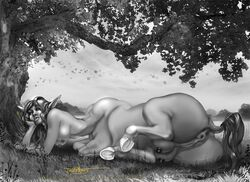 2019 animal_genitalia animal_pussy anus ass belly big_belly breasts centaur detailed_background digital_media_(artwork) equine equine_pussy equine_taur female forest four_breasts fur grass hair hooves horse_body jackle0rgy looking_at_viewer lying mammal nipples nude outside penetration pointy_ears presenting puffy_anus pussy silver_hair taur teats tree
