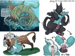 aboleth anal anthro canine cervine conditional_dnp displacer_beast dungeons_&_dragons feline feral hybrid hypnosis lustylamb male male/male mammal mind_control size_difference tentacle underwater water wolf