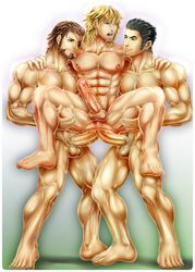 3boys abs absurdres anal bara barefoot black_hair blonde_hair blue_eyes brown_hair commission crossover double_penetration erection eyepatch facial_hair fetish final_fantasy final_fantasy_xiii green_eyes grin group_sex highres human kiryu_kazuma lifting lightning_returns:_final_fantasy_xiii male male_focus male_only male_pubic_hair metal_gear_(series) metal_gear_solid metal_gear_solid_3 moaning multiple_boys muscle nipples nude open_mouth pecs penis pubic_hair ryuu_ga_gotoku sex smile snow_villiers solid_snake teeth testicles uncensored wince yaoi zarthy000
