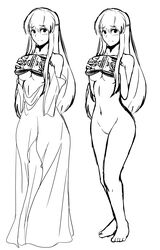 1girl absurd_res absurdres bare_arms bare_legs bare_midriff bare_shoulders barefoot black_and_white blush book breasts covering covering_breasts embarrassed feet female female_only fire_emblem fire_emblem:_genealogy_of_the_holy_war fire_emblem:_seisen_no_keifu fire_emblem_4 full_body hands highres holding holding_book holding_object julia_(fire_emblem) line_art long_hair looking_at_viewer medium_breasts midriff naked navel nervous nintendo no_pussy nude shy sketch solo solo_female solo_focus sweatdrop thighs tridisart uncensored underboob white_background yuria yuria_(fire_emblem)
